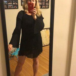 Vivienne Tam black flare mini silk dress